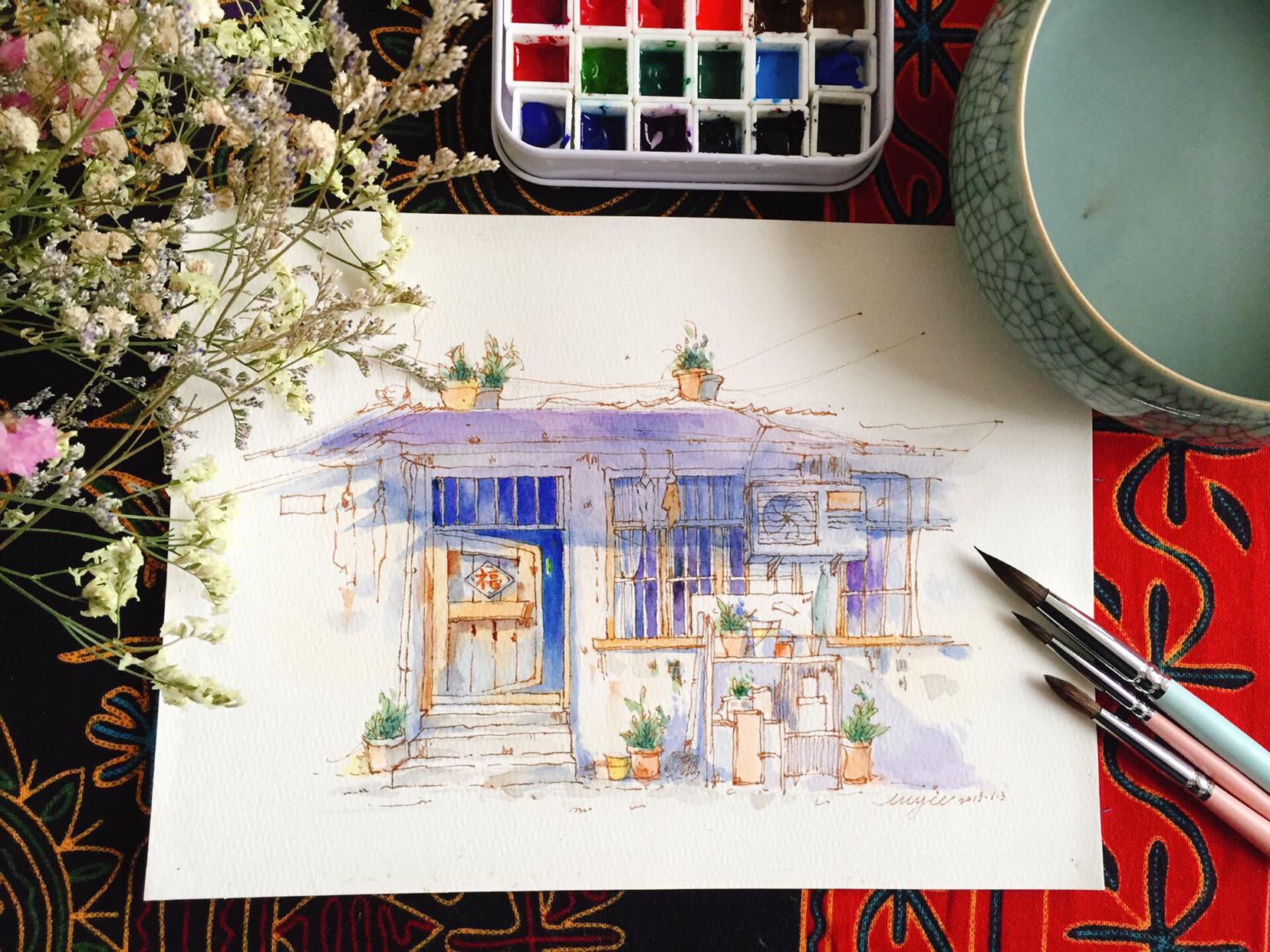 手账 钢笔淡彩---老房子很多人问画... ,手帐工具